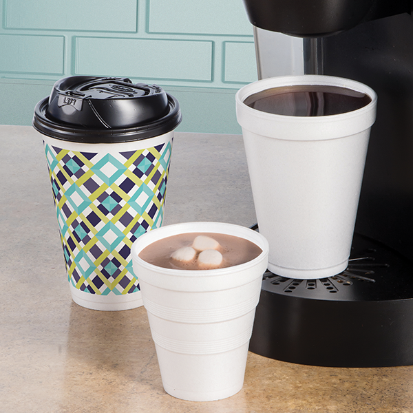 foam cups with one cup coffee maker